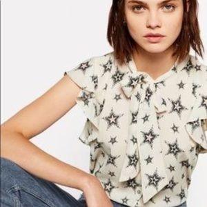 Zara Basic Tie Neck Star Blouse
